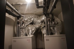 Four innovative air to water heat pumps are located in the basement.