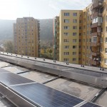 Solar panels on the roof of the Bratislava buildings is one of the components of the innovative heating system.